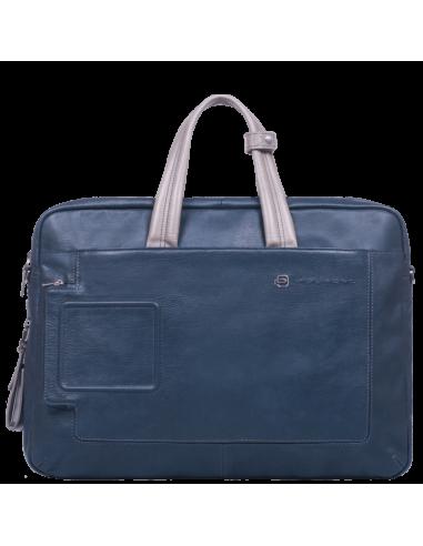 4c2a4cf83f Cartella porta PC della collezione Vibe di Piquadro,realizzata in pelle  naturale,dotata di doppio manico,apertura con zip,tracolla  regolabile,passante ...