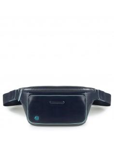 Leather Bum Bag Blue Square