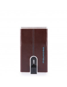 PIQUADRO Credit card case with sliding system BROWN