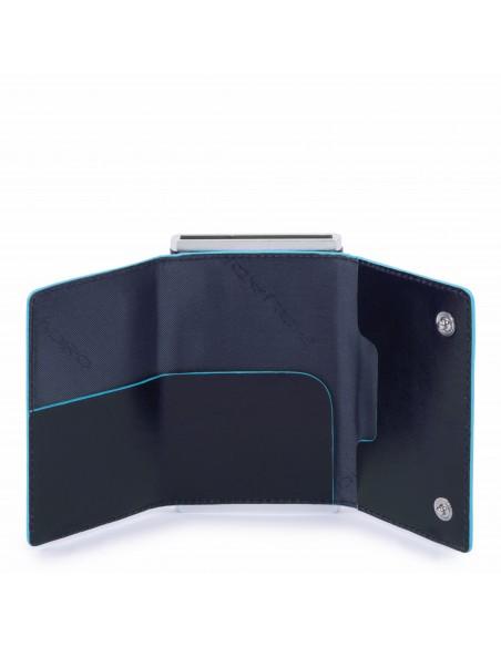 Portafogli compatto con portacarte di credito Piquadro Blue Square Blu aperto