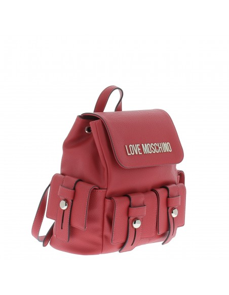 Love Moschino Women's backpack with pockets red side view
