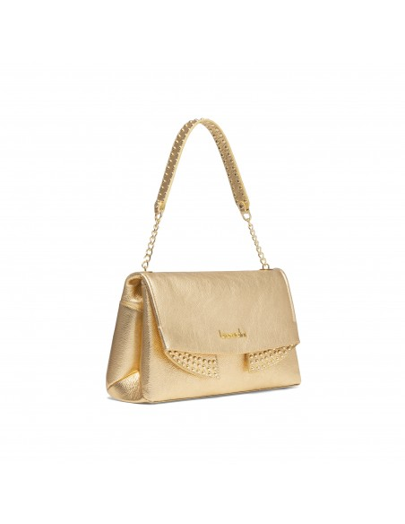Braccialini Naomi leather shoulder bag gold lateral view